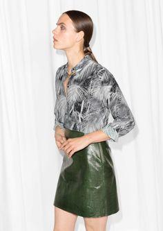 & Other Stories | Monochrome Rainforest Print Silk Shirt