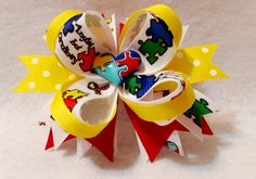 """5.5"""" Stacked Boutique Hair Bow Stacked Loopy Hair Bow w/Spiked Pinwheel Base Resin Autism Awareness Puzzle Heart Embellishment Grosgrain Ribbon Covered Metal Alligator Clip with No-Slip Pad 50% of all"""