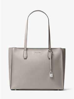 6178f78076160 Mercer Large Top-Zip Leather Tote pearl grey