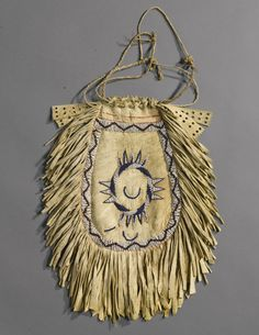 Apache Beaded and Fringed Hide Medicine Pouch