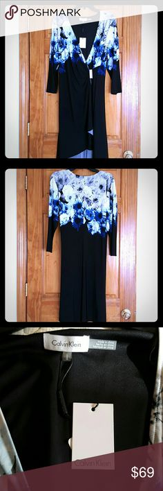 Calvin Klein Floral Mock Wrap Dress Calvin Klein Floral Mock Wrap Dress Dresses Midi
