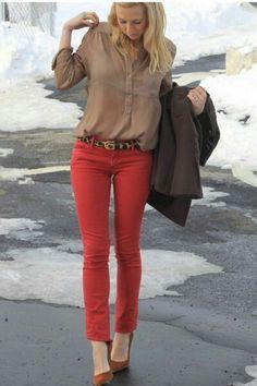 beige shirt; red pants