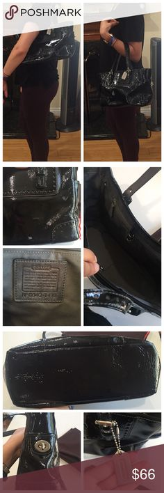 Coach Handbag This bag has been used but it's still in a good condition.. the size is medium and the material is like a shiny black.. the bag has a streak of like white line with a small square-like scratch on its back as shown in the pic.. The inside color is dark gray, the coach sign hanging is a gray metal.. it does come with dust bag.. If u look at the last pic when the bag is sitting by itself, it does lose its shape (the bag is empty), so maybe if it's full it will stand better.. No…