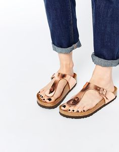 Image 1 of Birkenstock Gizeh Metallic Copper Slider Flat Sandals