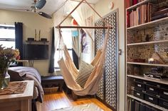 love this indoor hammock swing  from re-nest.com