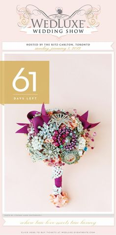 Collect Brooches from loved one to make a beautiful bouquet that you can keep forever.  Super duper creative!