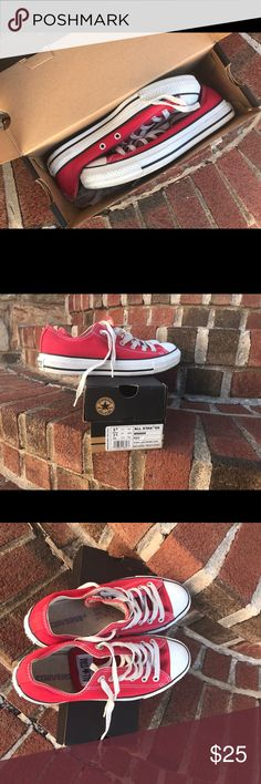 CONVERSE red unisex shoe, 5.5 men's, 7.5 women's. Lightly worn, looks brand new once washed. With box. US Men's size 5.5, women's 7.5. I usually wear a women's 8 & these fit perfectly. Converse Shoes Sneakers