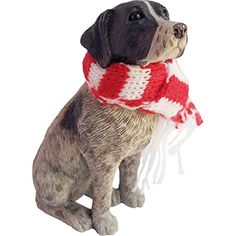 Sandicast German Shorthaired Pointer with Red and White Scarf Christmas Ornament * Click on the image for additional details.