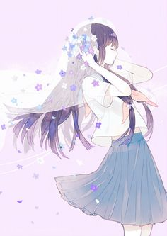 パープル系 紫の髪の女の子イラスト 紫の服の少女アニメ