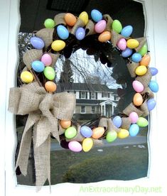 34 Pastel Eggs and Burlap Grapevine Easter Wreath