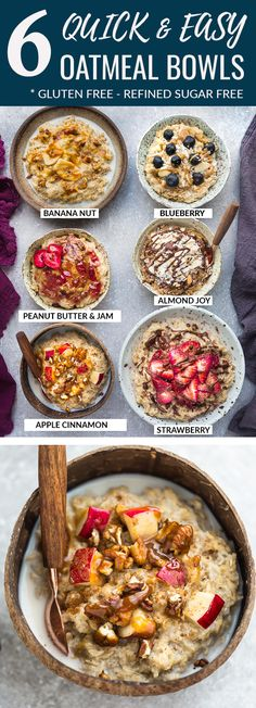 Quick and Easy Oatmeal - 6 Ways – How to Cook the Perfect Bowl of Old Fashioned Rolled Oats with Six Healthy & Delicious Recipes. A quick & healthy make ahead breakfast for cooler fall / winter mornings with creamy results every time. Healthy Make Ahead Breakfast, Breakfast And Brunch, Blueberry Breakfast, Vegan Breakfast, Quick And Easy Breakfast, Healthy Breakfasts, Oats Breakfast Recipes, Oatmeal Breakfast Recipes, Sugar Free Breakfast