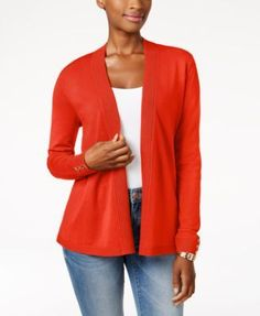 Charter Club Open-Front Cardigan, Created for Macy's - Tan/Beige XXL
