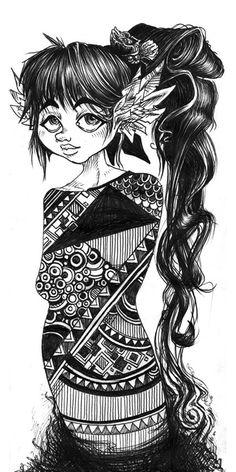 Rough // Ballpoint pen & Pattern girl