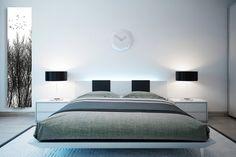 Nowoczesna sypialnia z grzejnikiem szklanym Nova Glass od Radox, z motywem drzew.
