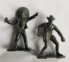 Vintage Metal Pewter Lead Toy Figures Indian Chief Red Cloud And Bat Masterson  | eBay