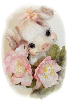 Briar By Sadovskaya Tatiana - Are pleased to announce romantic little pig. sewed it from the German viscose . English brown eyes on a long loop . legs in reinforcing device can bend legs . toned pastels. small sweet and gentle. I hope you will like it ) branch of wild rose is made in the art of silk flower arranging.It...