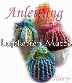 Luftketten-Mütze Anleitung SUPER bebilder & beschrieben Mehr - New Ideas Summer Knitting, Easy Knitting, Baby Knitting Patterns, Crochet Patterns, How Do You Knit, Purple Braids, Knit Crochet, Crochet Hats, Colored Rope