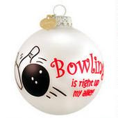 Bowling Up My Alley Glass Ornament  border=