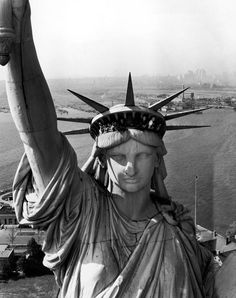 On this day in the Statue of Liberty arrived in New York. Pictured, the Statue of Liberty photographed from a helicopter by LIFE photographer Margaret Bourke-White in See more photos of. Statue Of Liberty Crown, Air America, America Pride, Nj Shore, Margaret Bourke White, Tv Movie, A New York Minute, New York Harbor, Usa Tumblr