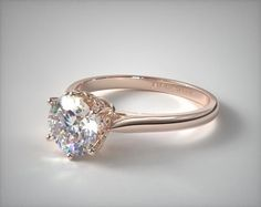 14K Rose Gold Spring Blossom Six Prong Solitaire Engagement Ring