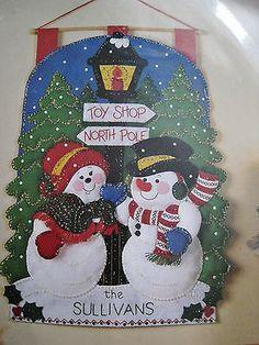 Christmas Bucilla Felt Applique Wall Hanging Kit Mr Mrs Snowman Door Sign NIP   eBay