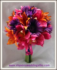 Fall Spring Summer Winter Orange Pink Purple Bouquet Wedding Flowers Photos & Pictures - WeddingWire.com
