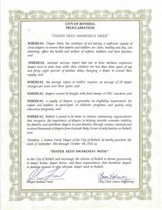 Bothell, WA - Mayoral proclamation recognizing Diaper Need Awareness Week (Sept. 28 - Oct. 4, 2015) #DiaperNeed www.diaperneed.org