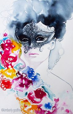 Masquerade Ball Watercolor Art Print Original by KimberlyGodfrey