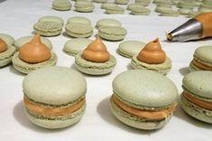 Törökmogyoró macaronok sós karamellás töltettel | Mai Móni Sweet Cakes, Macarons, Cheesecake, Muffin, Sweets, Cookies, Cream, Recipes, Sugar Art