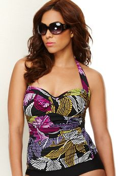 Plus Size Glam Halter Swim Top with Control image
