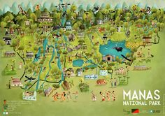 Rohan Chakravarty - greenhumour.com - An illustrated map of Manas National Park - India