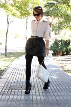 white blouse + black leather skirt + cream bag