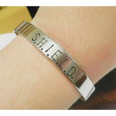 SHIELD Hand Stamped Bracelet - The Avengers Agents of Shield Captain... ($13) ❤ liked on Polyvore featuring mens, men's jewelry, bracelets, jewelry and avengers