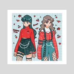 red fits, an art print by fresh_bobatae - INPRNT Aesthetic Drawing, Aesthetic Anime, Aesthetic Art, Arte Do Kawaii, Kawaii Art, Kawaii Drawings, Cute Drawings, Arte Copic, Clothing Sketches