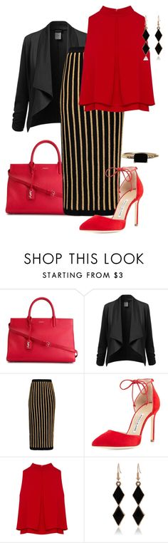 """- 2 - Red - Bag & Shoes"" by eva-kouliaridou ❤ liked on Polyvore featuring Yves Saint Laurent, Balmain, Manolo Blahnik, LUMO, women's clothing, women's fashion, women, female, woman and misses"