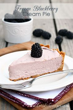 Frozen Blackberry Cream Pie: very good! Didn't think it would be sweet enough but it was just right.  Added whipped topping and fresh blackberries on top. pc 7/25/14