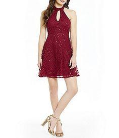707e707f810 Jodi Kristopher Sequin Lace Choker Neck Keyhole Skater Dress Semi Formal  Dresses