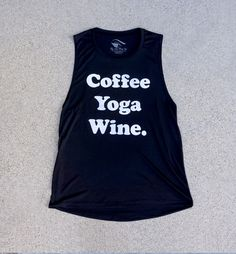 COFFEE, YOGA, WINE (Black) - Ladies Flowy Tank | 3rdCultureStyle