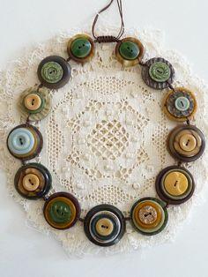 On Sale ES310 - SAFARI - VINTAGE BUTTONS Handmade Necklace - one off design. £16.08, via Etsy.
