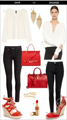 e9d900cad8 black skinny jeans, espadrille, wedge, sandals, YSL bag, red handbag,