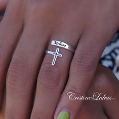 10k / 14K Karat Gold or Sterling silver - Personalized Engraved Name Ring with Cross -Wrap Ring