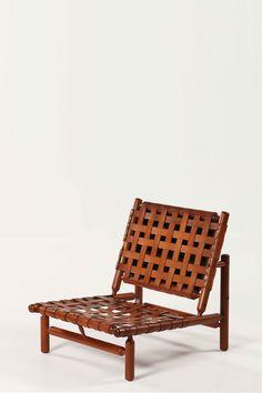 Ilmari Tapiovaara; Wood and Leather Lounge Chair for La Permanent, 1958.