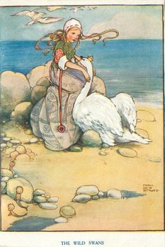 THE WILD SWANS by Mabel Lucie Attwell (4 June 1879 – 5 November 1964) was a British illustrator. She was known for her cute, nostalgic drawings of children, based on her daughter, Peggy. Her drawings are featured on many postcards, advertisements, posters, books and figurines.