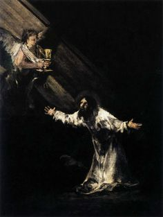 Christ on the Mount of Olives - Francisco De Goya y Lucientes Francisco Goya paintings, plastic arts, visual arts, art, romanticism Chiaroscuro, Spanish Painters, Spanish Artists, Religious Paintings, Religious Art, Caravaggio, Rembrandt, Francisco Goya Paintings, Art Espagnole
