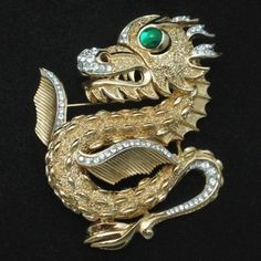 Dragon Pin Rhinestones Glass Eyes Trifari Scarce Figural Vintage Brooch