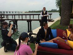 Our CEO Christian Jagodsinski, filming the exclusive segment about Villazzo's 5 star services for German channel n-tv at Villa Jasmine in Miami #BTS #MiamiVilla