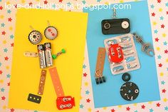 "Recycled Robots - awesome way to use up all of the things that B likes to ""collect."""