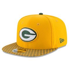 Green Bay Packers New Era Youth 2017 Sideline Official 9FIFTY Snapback Hat  - Gold 482004533
