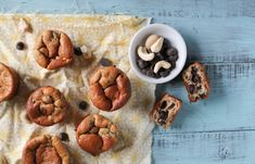 overhead shot of paleo mini banana muffins on a turquoise washed board with a bowl of chocolate chips and cashews High Protein Muffins, Paleo Banana Muffins, Banana Nut, Flourless Muffins, Mini Muffins, Dairy Free Recipes, Paleo Recipes, Whole Food Recipes, Cooking Recipes