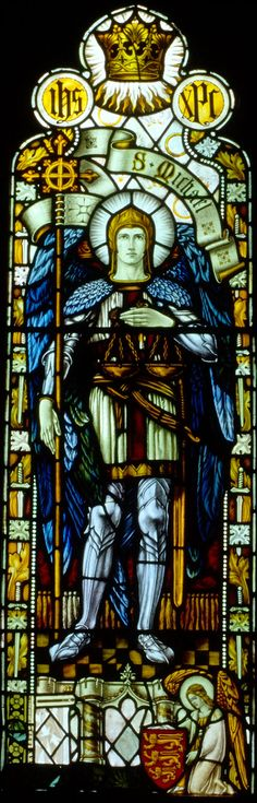 Saint Michael the ArchangelA kneeling angel in the foreground holding the coat-of-arms of England